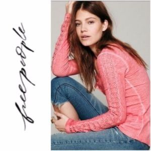 FREE PEOPLE Coral Steel Stitch Henley Top